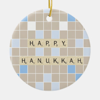 Happy Hannukah Round Ceramic Decoration