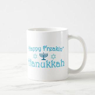 happy hanukkah basic white mug
