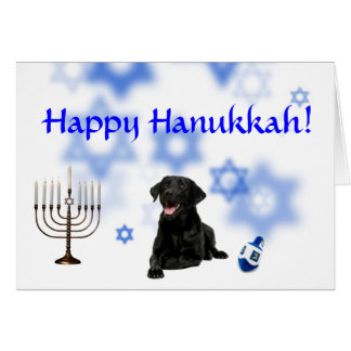 Happy Hanukkah Black Lab Card