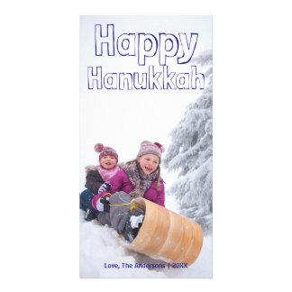 Happy Hanukkah Blue Block - Photocard Photo Card Template