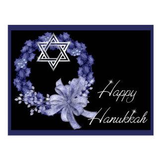 Happy Hanukkah Blue Wreath Holiday Postcards
