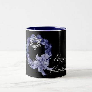 Happy Hanukkah Blue Wreath & Star Coffee/Tea Mug