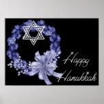 Happy Hanukkah Blue Wreath/Star Designed Print