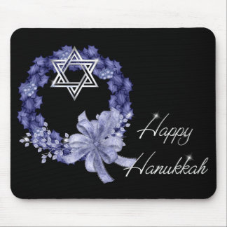 Happy Hanukkah Blue Wreath & Star Mousepad
