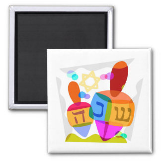 Happy Hanukkah Bright Dreidels Square Magnet