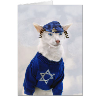Happy Hanukkah Cat with Payot and Yarmulke Card