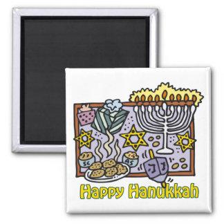 Happy Hanukkah Celebration Square Magnet