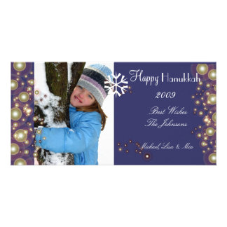 Happy Hanukkah, champagne bubbles photocards Photo Greeting Card