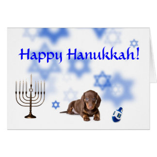 Happy Hanukkah Dachshund Card