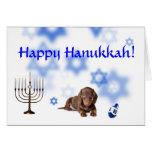 Happy Hanukkah Dachshund Greeting Card