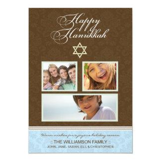 Happy Hanukkah Damask Holiday Card (brown/blue)
