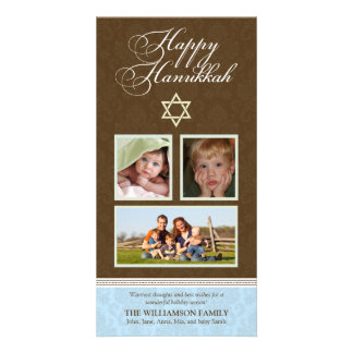 Happy Hanukkah Damask Holiday PhotoCard (blue) Card