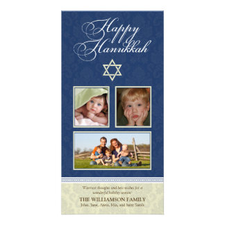 Happy Hanukkah Damask Holiday PhotoCard (navy) Card