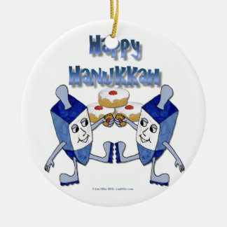 Happy Hanukkah Dancing Dreidels Jelly Doughnut Christmas Ornament