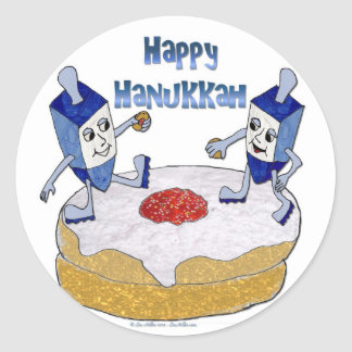 Happy Hanukkah Dancing Dreidels Jelly Doughnut Classic Round Sticker