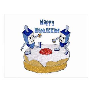 Happy Hanukkah Dancing Dreidels Jelly Doughnut Postcard