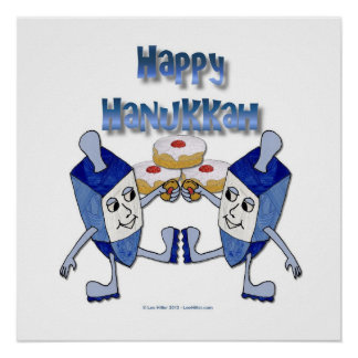 Happy Hanukkah Dancing Dreidels Jelly Doughnut Posters