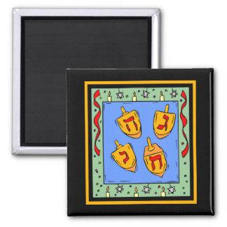 Happy Hanukkah Dreidels Square Magnet