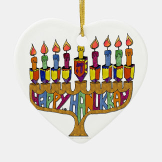 Happy Hanukkah Dreidels Menorah Christmas Ornament