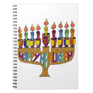 Happy Hanukkah Dreidels Menorah Note Book