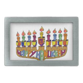 Happy Hanukkah Dreidels Menorah Rectangular Belt Buckles