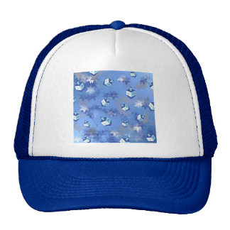 Happy Hanukkah Falling Star and Dreidels Cap