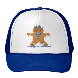 Happy Hanukkah Gingerbread Man Menorah Cap