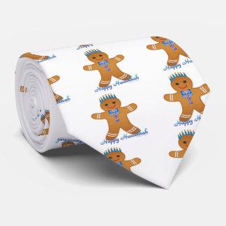 Happy Hanukkah Gingerbread Man Menorah Tie