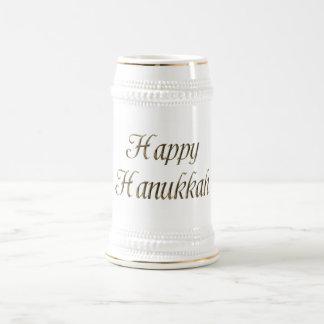 Happy Hanukkah Gold Typography Elegant Chanukah Beer Stein