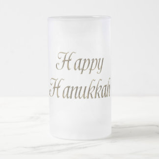 Happy Hanukkah Gold Typography Elegant Chanukah Frosted Glass Beer Mug