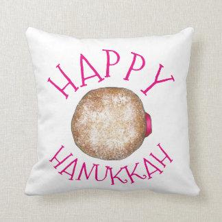 Happy Hanukkah Jelly Donut Doughnut Sufganiyot Cushion