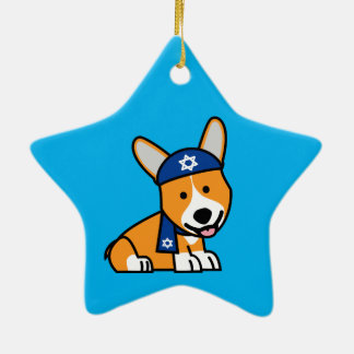 Happy Hanukkah Jewish Corgi Corgis Dog Puppy Ceramic Star Decoration