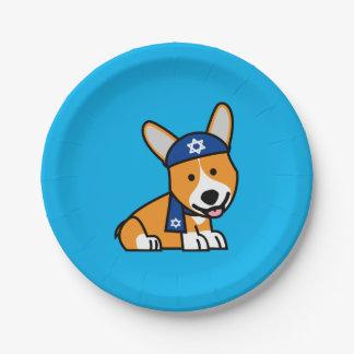 Happy Hanukkah Jewish Corgi Corgis Dog Puppy Paper Plate