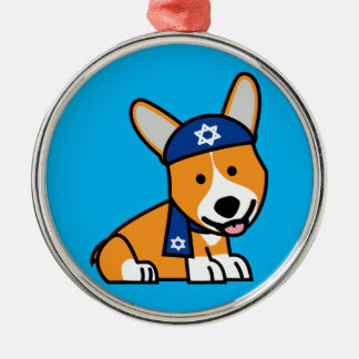 Happy Hanukkah Jewish Corgi Corgis Dog Puppy Silver-Colored Round Decoration