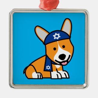 Happy Hanukkah Jewish Corgi Corgis Dog Puppy Silver-Colored Square Decoration