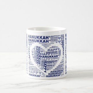 Happy Hanukkah Jewish Holiday Blue Coffee Tea Mug