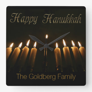 Happy Hanukkah Lamp Menorah Lights Candles Clock