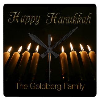Happy Hanukkah Lamp Menorah Lights Candles Square Wall Clock