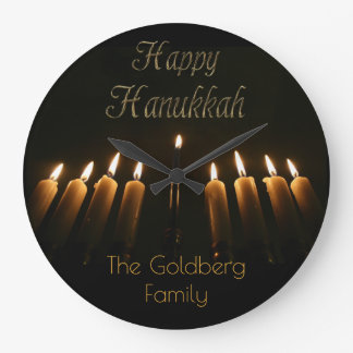 Happy Hanukkah Lamp Menorah Lights Candles Wallclocks