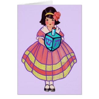Happy Hanukkah Little Girl with Big Dreidel Card