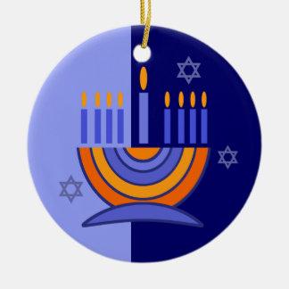 Happy Hanukkah! Menorah and Dreidels Design Round Ceramic Decoration