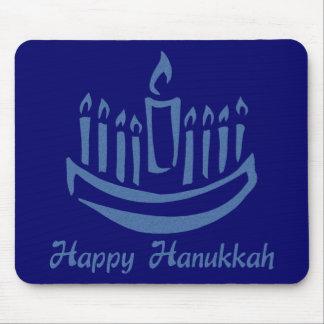 Happy Hanukkah Menorah - Blue Mouse Pads