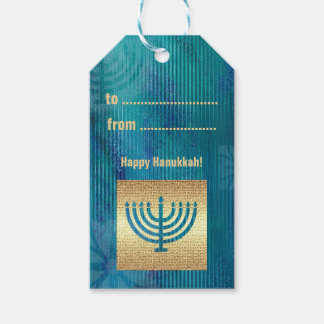 Happy Hanukkah. Menorah Design Custom Gift Tags
