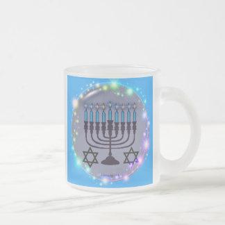 Happy Hanukkah / Menorah Frosted Glass Mug