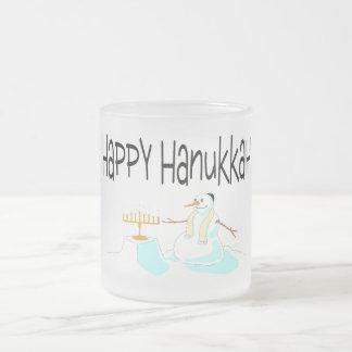 Happy Hanukkah Menorah Frosted Glass Mug