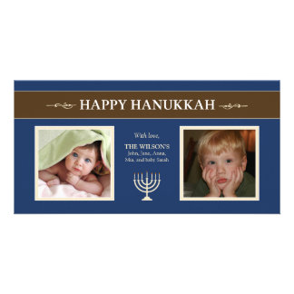 Happy Hanukkah Menorah Holiday PhotoCard (blue) Custom Photo Card