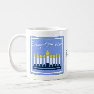 Happy Hanukkah Menorah On Blue Mug
