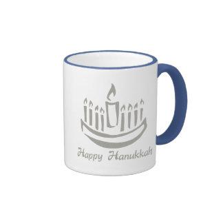 Happy Hanukkah Menorah - Silver Gray Coffee Mugs