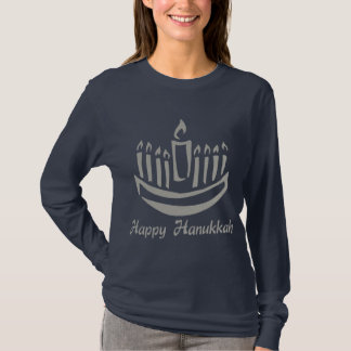 Happy Hanukkah Menorah - Silver Gray T-Shirt