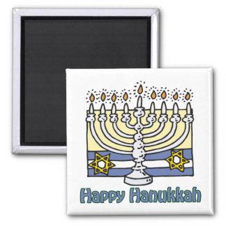 Happy Hanukkah Menorah Square Magnet